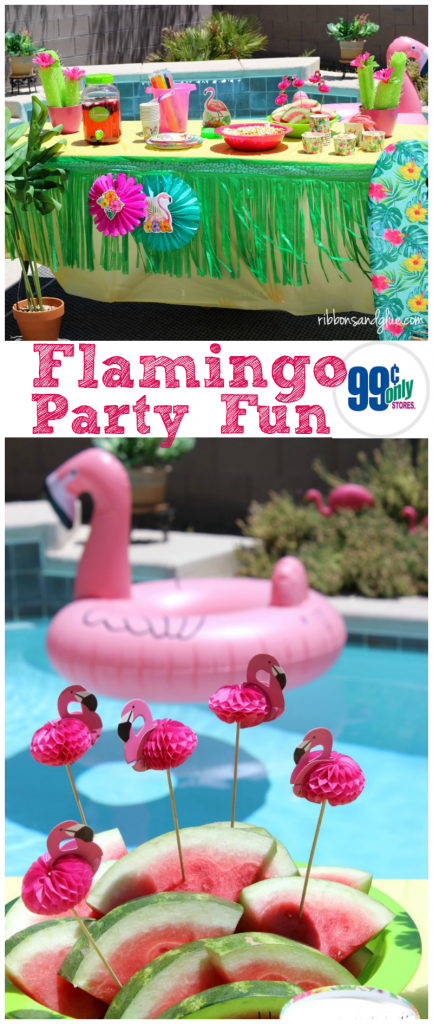 Flamingo Pool Party decorated with summer decor from the 99 Cents Only Stores. #dothe99 #99obsessed #CollectiveBias