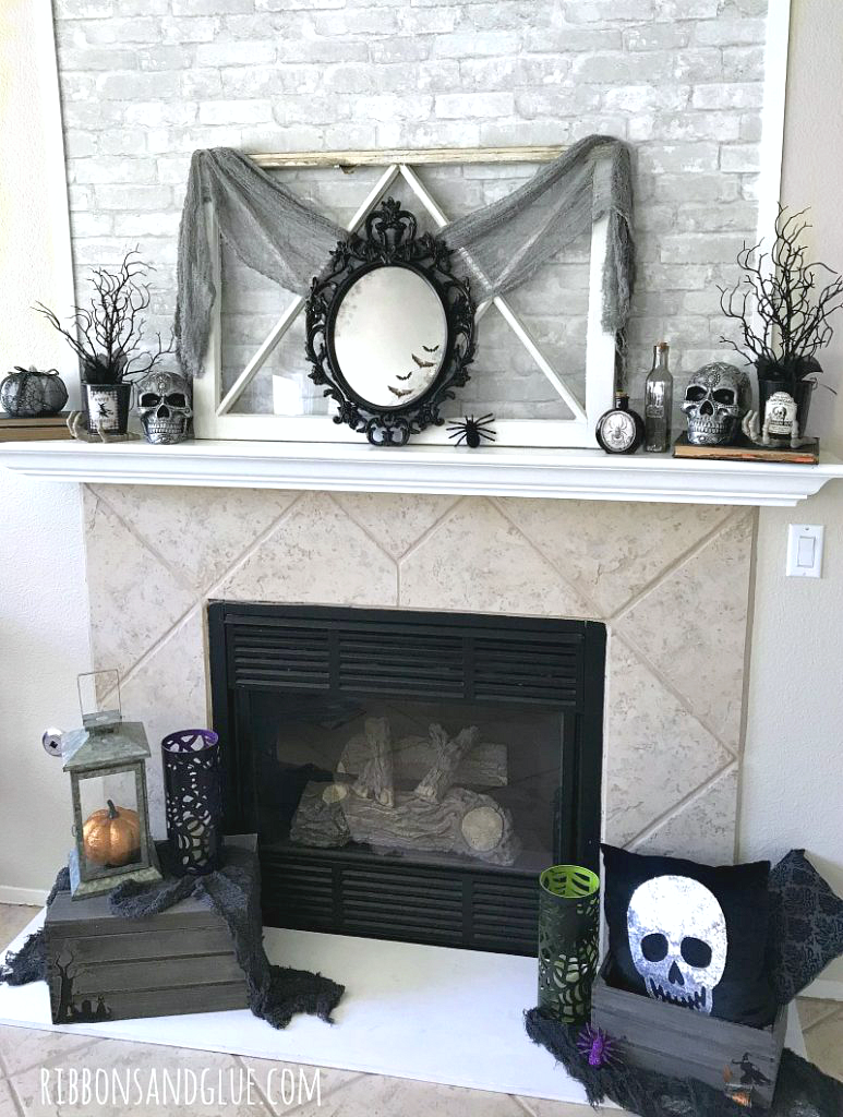 How to create a Spooky Halloween Mirror and Mantel on a budget.  #dothe99 #99obsessed  @99centsonly