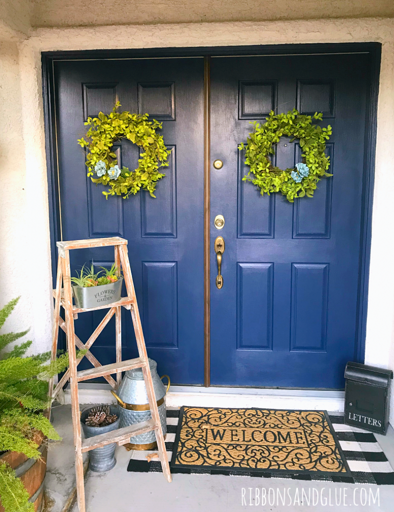 Easy Front Door Makeover with paint and FrogTape painters tape