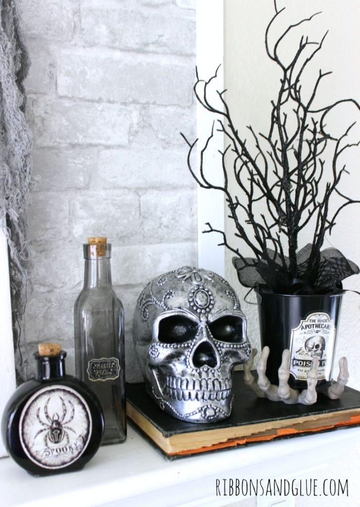 Decorative Halloween Skulls on Halloween Mantel