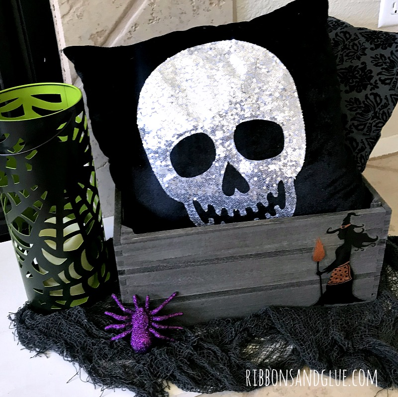 Sequined Halloween Skull Pillow