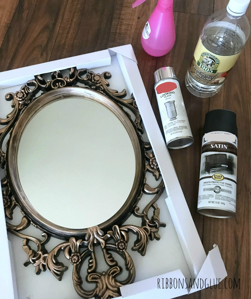 Supplies to make a Spooky Halloween Mirror