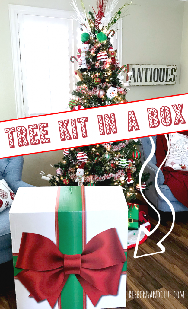 Christmas Tree Kit in a Box that includes everything you need to decorate a gorgeous Santa and His Elves Christmas Tree #dothe99,#99obsessed